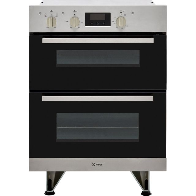 Indesit Aria IDU6340IX Built Under Double Oven With Feet - Stainless Steel - B/B Rated - IDU6340IX_SS - 1