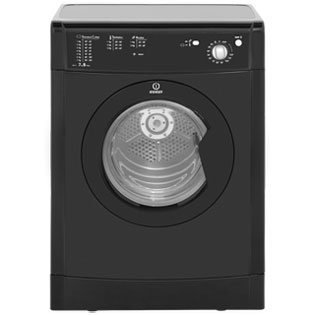Indesit Eco Time IDV75BK Free Standing Vented Tumble Dryer in Black