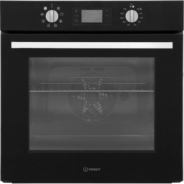 Indesit Aria IFW6340BL Built In Electric Single Oven - Black - IFW6340BL_BK - 1