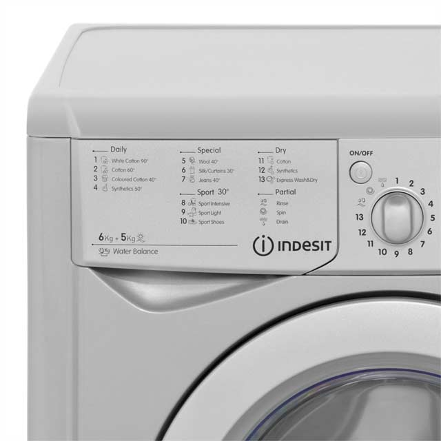 Indesit Eco Time IWDC6125 6Kg / 5Kg Washer Dryer - White - IWDC6125_WH - 3