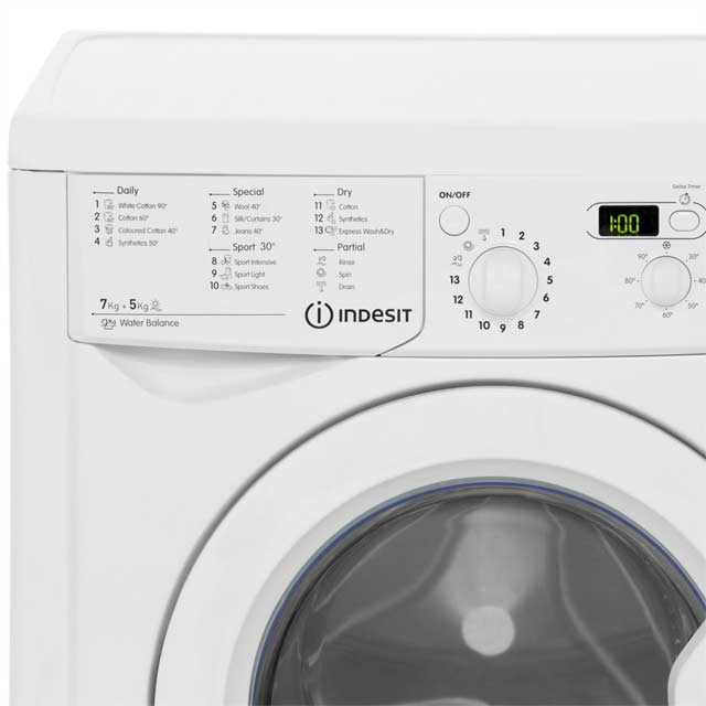 Indesit Eco Time IWDD7143 Washer Dryer - White - IWDD7143_WH - 3