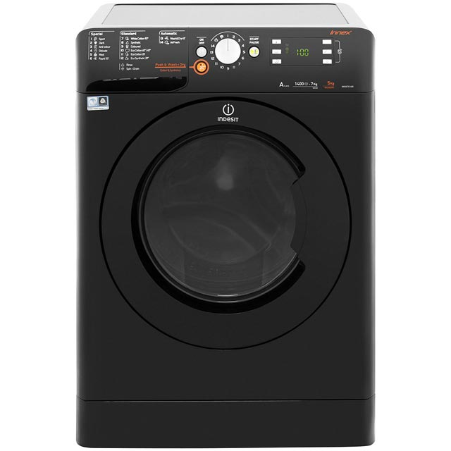 Indesit Innex XWDE751480XK 7Kg / 5Kg Washer Dryer with 1400 rpm - Black - A Rated - XWDE751480XK_BK - 1