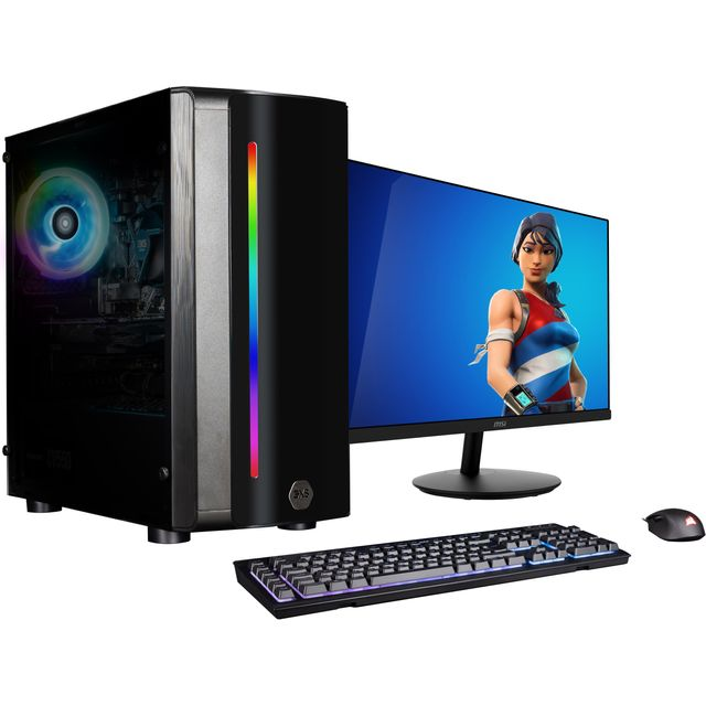 """3XS Core 3060Ti RGB 24"""" Gaming Tower Includes 24-inch monitor, keyboard and mouse - 1TB SSD - Black"""