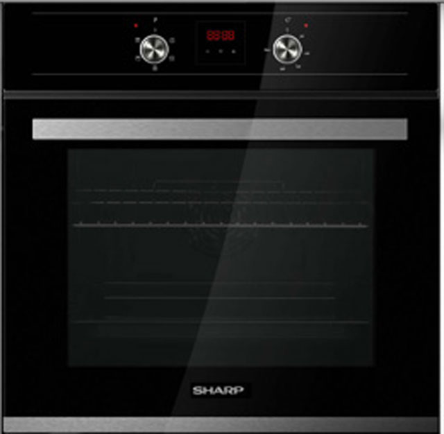 Sharp K-60D22BM1 Built In Electric Single Oven - Black - A Rated - K-60D22BM1_BK - 1