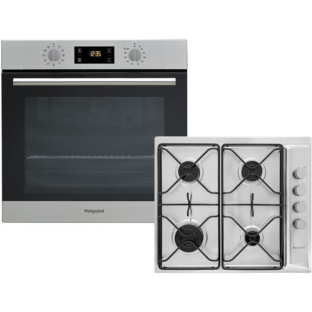 Hotpoint K002969 Built In Electric Single Oven and Gas Hob Pack - Stainless Steel - A+ Rated