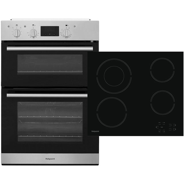 Hotpoint Built In Double Oven and Ceramic Hob Pack - Stainless Steel / Black - A/A Rated
