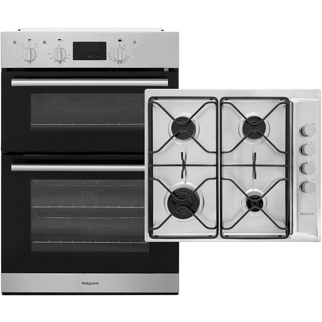 Hotpoint Built In Double Oven and Gas Hob Pack - Stainless Steel - A/A Rated