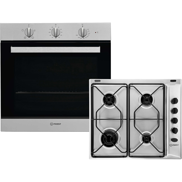 Indesit Aria K002978 Integrated Oven & Hob Pack in Stainless Steel