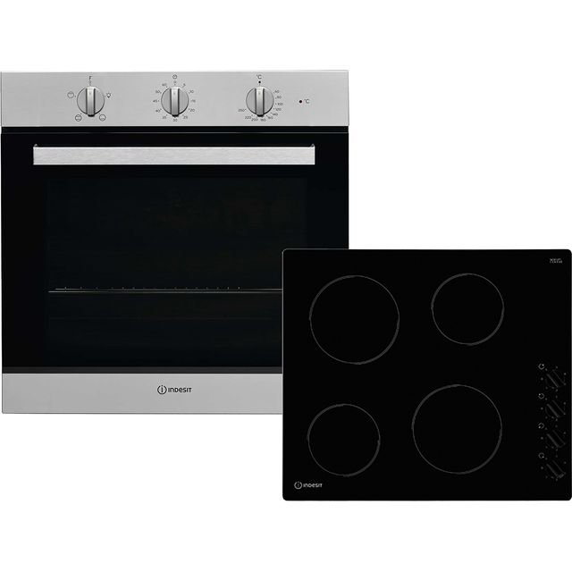 Indesit Aria K002979 Integrated Oven & Hob Pack in Stainless Steel / Black