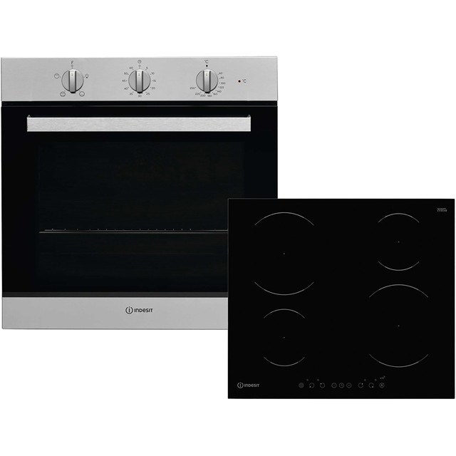 Indesit Aria K002980 Built In Electric Single Oven and Induction Hob Pack - Stainless Steel / Black - A Rated