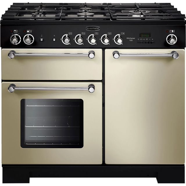 Rangemaster Kitchener KCH100DFFCR/C 100cm Dual Fuel Range Cooker - Cream / Chrome - A/A Rated - KCH100DFFCR/C_CR - 1