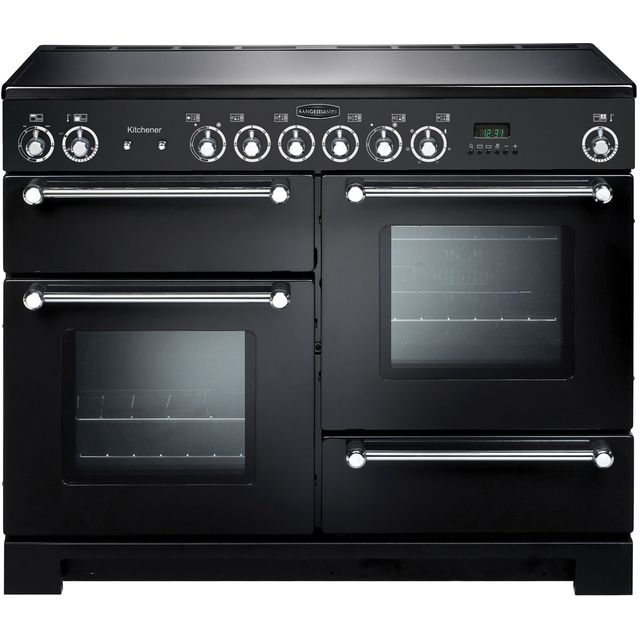 Rangemaster Kitchener KCH110ECBL/C 110cm Electric Range Cooker with Ceramic Hob - Black / Chrome - A/A Rated