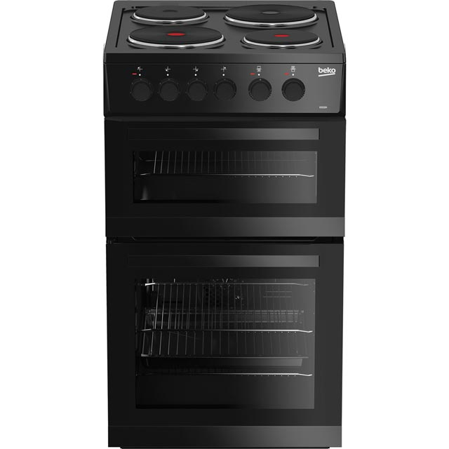 Beko KD533AK 50cm Electric Cooker with Solid Plate Hob - Black - A Rated Best Price, Cheapest Prices