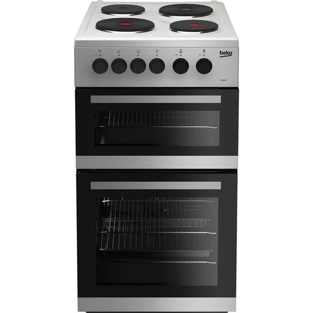 Beko KD533AS 50cm Electric Cooker with Solid Plate Hob - Silver - A Rated - KD533AS_SI - 1