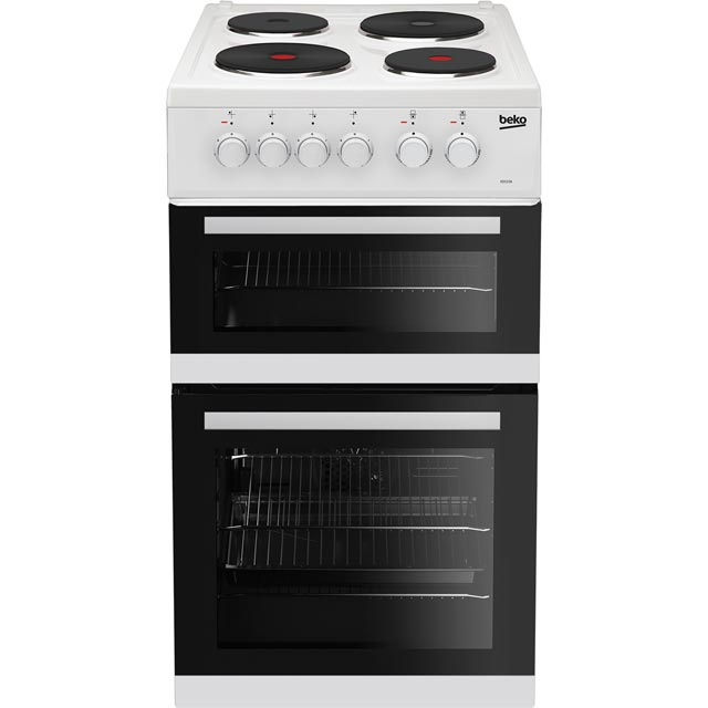 Beko KD533AW 50cm Electric Cooker with Solid Plate Hob - White - A Rated