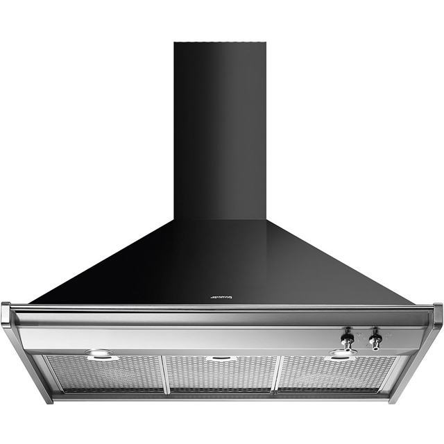 Smeg KD90NE 90 cm Chimney Cooker Hood - Black - A Rated - KD90NE_BK - 1