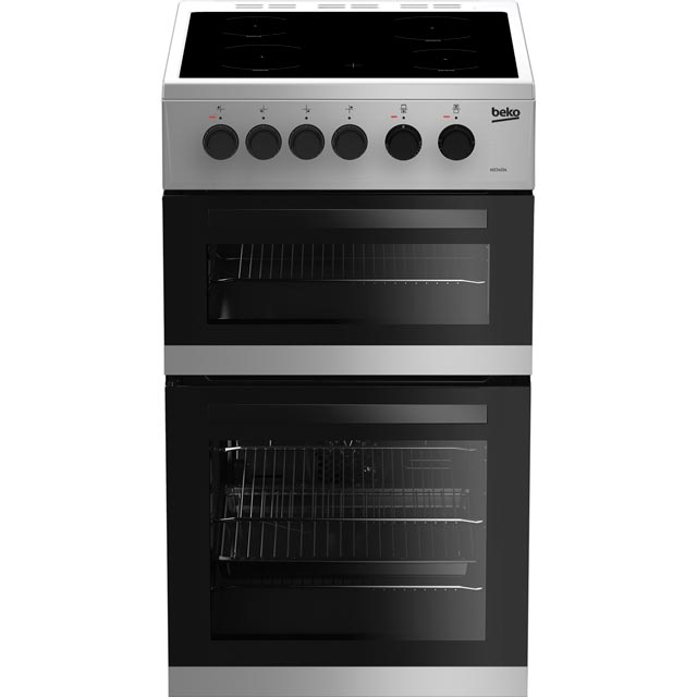 Beko KDC5422AS 50cm Electric Cooker with Ceramic Hob - Silver - A Rated Best Price, Cheapest Prices