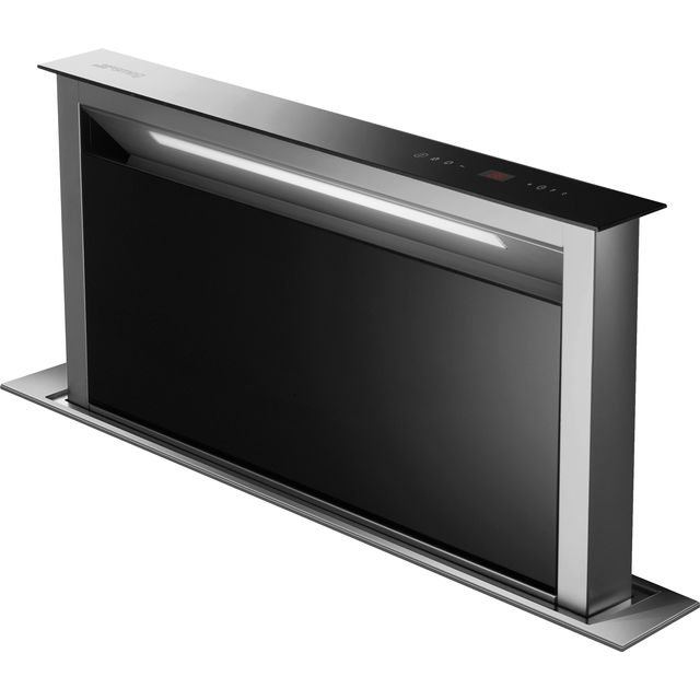 Smeg 90 cm Downdraft Cooker Hood - Stainless Steel / Black Glass - A Rated