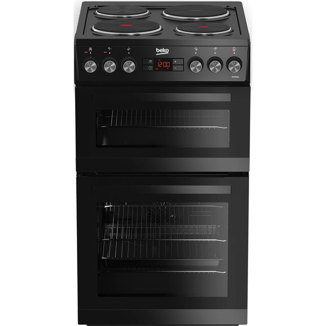 Beko KDV555AK 50cm Electric Cooker with Solid Plate Hob - Black - A/A Rated Best Price, Cheapest Prices