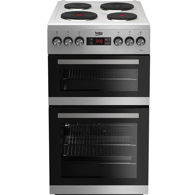 Beko KDV555AS 50cm Electric Cooker with Solid Plate Hob - Silver - A/A Rated Best Price, Cheapest Prices