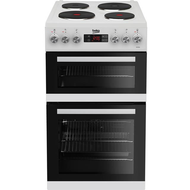 Beko KDV555AW 50cm Electric Cooker with Solid Plate Hob - White - A/A Rated Best Price, Cheapest Prices