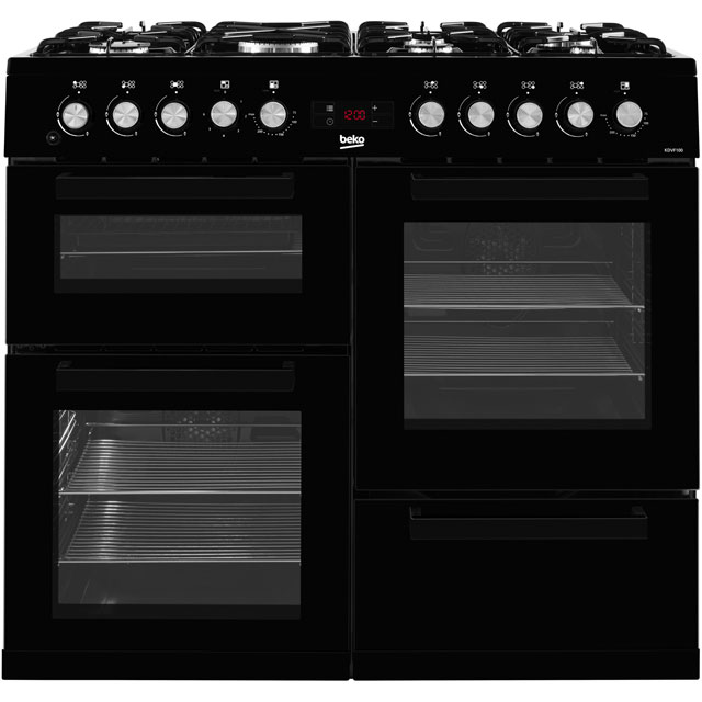 Beko 100cm Dual Fuel Range Cooker - Black - A/A Rated