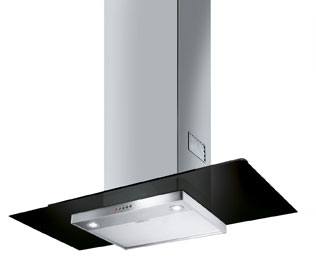 Smeg KFV92DNE 90 cm Chimney Cooker Hood - Stainless Steel / Black Glass - B Rated - KFV92DNE_SS - 1
