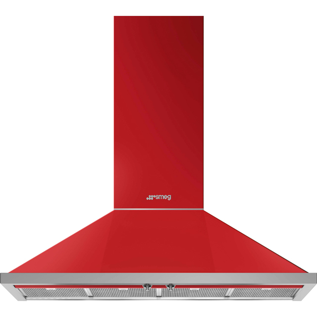 Smeg Portofino KPF12RD Built In Chimney Cooker Hood - Red - KPF12RD_RD - 1