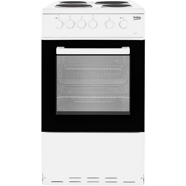 Beko KS530W 50cm Electric Cooker with Solid Plate Hob - White - A Rated Best Price, Cheapest Prices