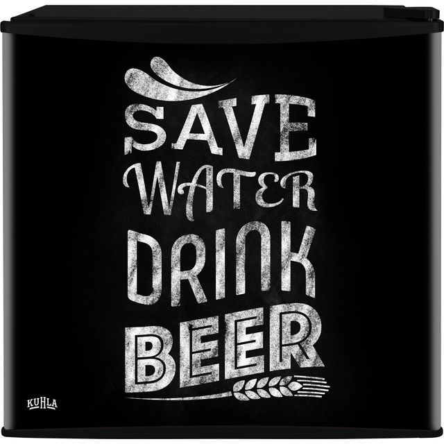 Kuhla KTTF4BGB-1003 Table Top Fridge with Ice Box - Save Water Drink Beer Design - A+ Rated - KTTF4BGB-1003_SWD - 1