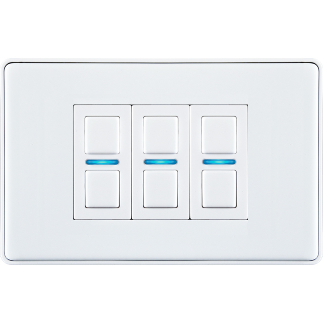 Lightwave Smart Series Dimmer (3 Gang) L23WH Smart Lighting in White