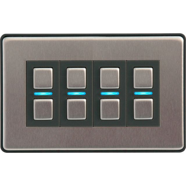 Lightwave Smart Series Dimmer (4 Gang) L24 Smart Lighting in Stainless Steel