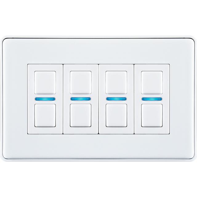Lightwave Smart Series Dimmer (4 Gang) L24WH Smart Lighting in White