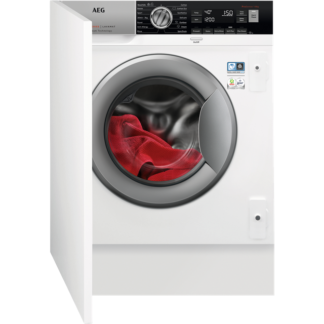 AEG ProSteam Technology L7FC8432BI Integrated 8Kg Washing Machine with 1400 rpm - A+++ Rated - L7FC8432BI_WH - 1