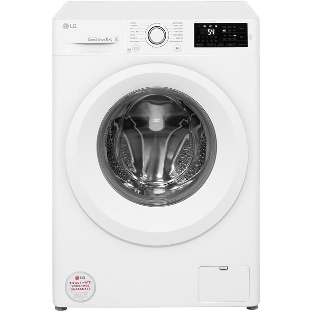 LG F4J5TN3W 8Kg Washing Machine with 1400 rpm - White - A+++ Rated - F4J5TN3W_WH - 1
