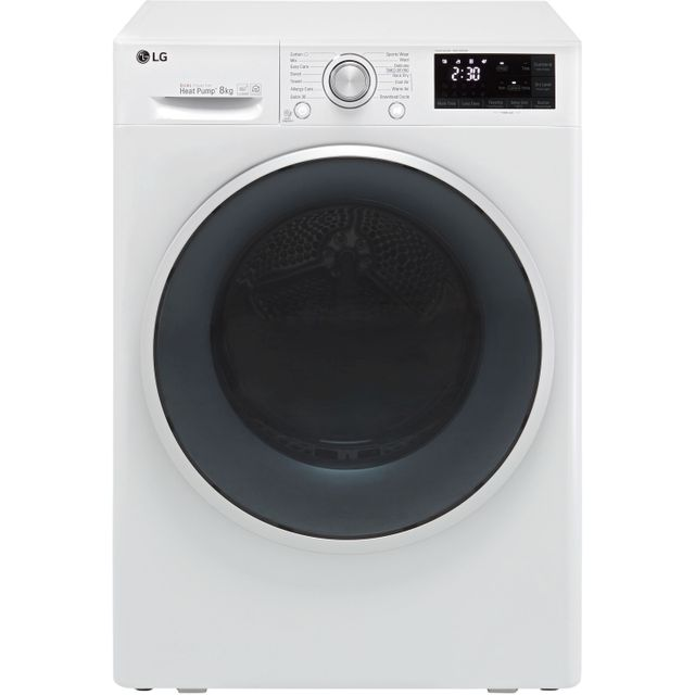 LG J6 FDJ608W Wifi Connected 8Kg Heat Pump Tumble Dryer - White - A+++ Rated