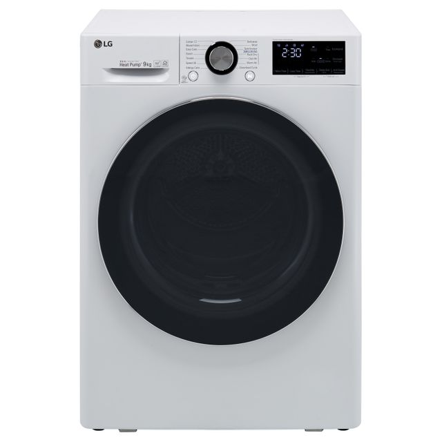LG V9 FDV909W Wifi Connected 9Kg Heat Pump Tumble Dryer - White - A+++ Rated - FDV909W_WH - 1