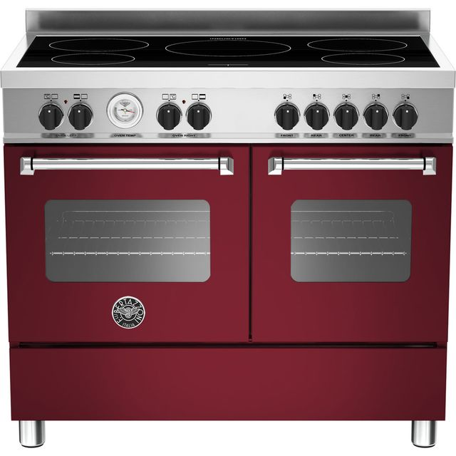 Bertazzoni Master Series MAS100-5I-MFE-D-VIE 100cm Electric Range Cooker with Induction Hob - Burgundy - A/A Rated - MAS100-5I-MFE-D-VIE_BUR - 1