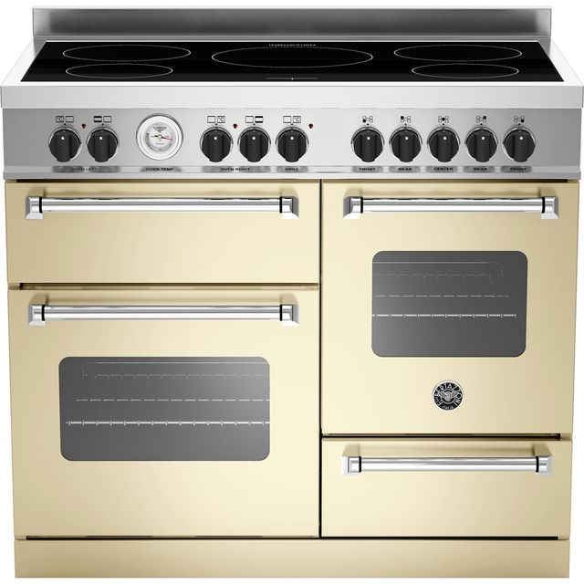 Image of Bertazzoni Master Series MAS100-5I-MFE-T-CRE 100cm Electric Range Cooker with Induction Hob - Cream - A/A Rated