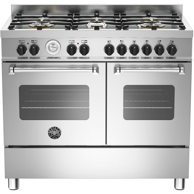 Bertazzoni Master Series MAS100-6-MFE-D-XE 100cm Dual Fuel Range Cooker - Stainless Steel - A/A Rated - MAS100-6-MFE-D-XE_SS - 1