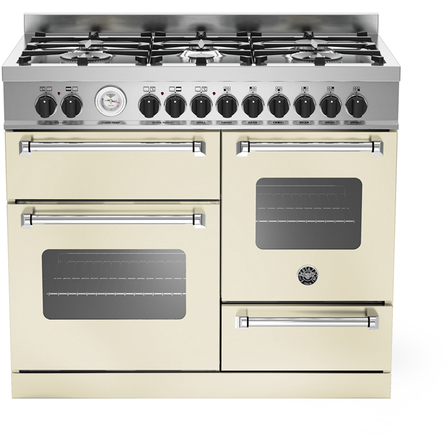 Bertazzoni Master Series MAS100-6-MFE-T-CRE 100cm Dual Fuel Range Cooker - Cream - A/A Rated - MAS100-6-MFE-T-CRE_CR - 1