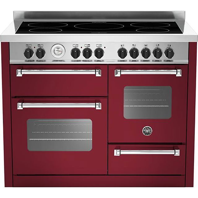 Bertazzoni Master Series MAS110-5I-MFE-T-TVIE 110cm Electric Range Cooker with Induction Hob - Burgundy - A/A Rated - MAS110-5I-MFE-T-TVIE_BUR - 1