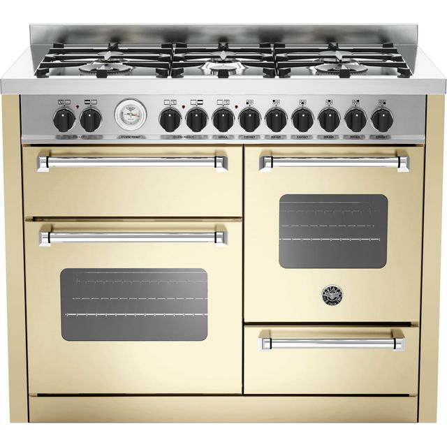 Image of Bertazzoni Master Series MAS110-6-MFE-T-CRE 110cm Dual Fuel Range Cooker - Cream - A/A Rated
