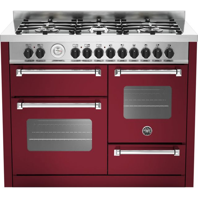 Image of Bertazzoni Master Series MAS110-6-MFE-T-VIE 110cm Dual Fuel Range Cooker - Burgundy - A/A Rated
