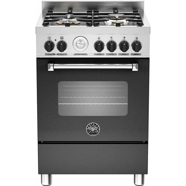 Bertazzoni Master Series MAS60-4-MFE-S-NEE 60cm Dual Fuel Cooker - Matt Black - A Rated