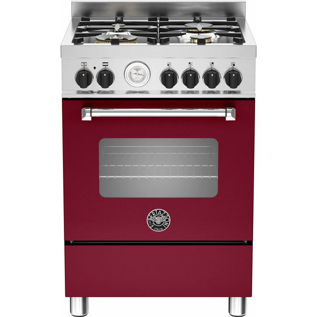 Bertazzoni Master Series MAS60-4-MFE-S-VIE 60cm Dual Fuel Cooker - Burgundy - A Rated - Needs 2.5KW Electrical Connection
