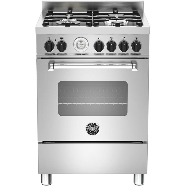 Bertazzoni Master Series MAS60-4-MFE-S-XE 60cm Dual Fuel Cooker - Stainless Steel - A Rated