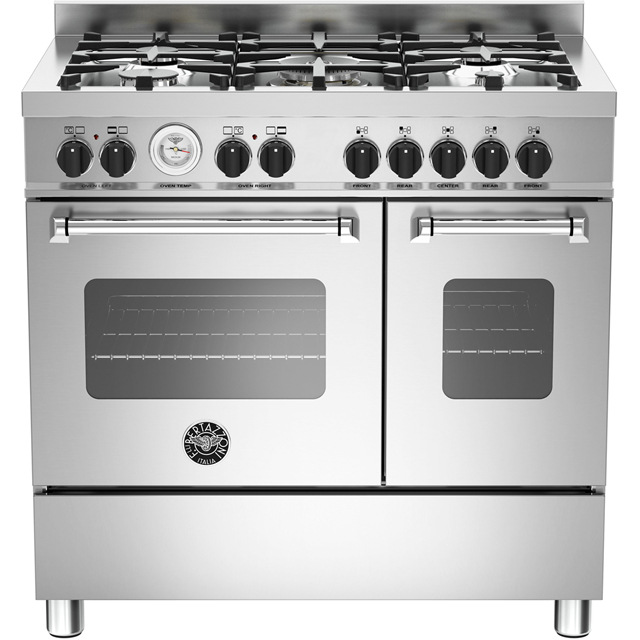 Bertazzoni Master Series MAS90-5-MFE-D-XE 90cm Dual Fuel Range Cooker - Stainless Steel - A+/A Rated - MAS90-5-MFE-D-XE_SS - 1