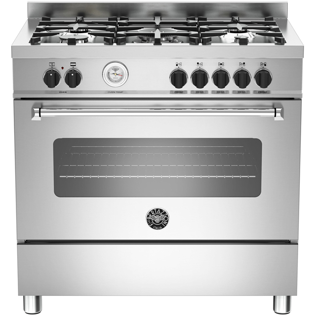 Bertazzoni Master Series MAS90-5-MFE-S-XE 90cm Dual Fuel Range Cooker - Stainless Steel - A Rated - MAS90-5-MFE-S-XE_SS - 1