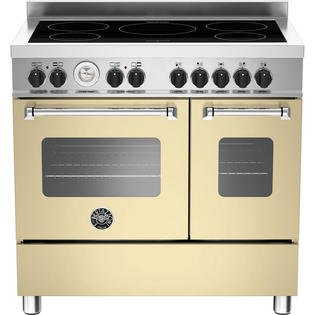 Bertazzoni Master Series MAS90-5I-MFE-D-CRE 90cm Electric Range Cooker with Induction Hob - Cream - A+/A Rated - MAS90-5I-MFE-D-CRE_CR - 1
